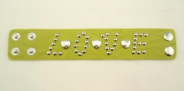 時尚飾品 個性朋克嫩綠色LOVE字母皮手鏈皮手鐲