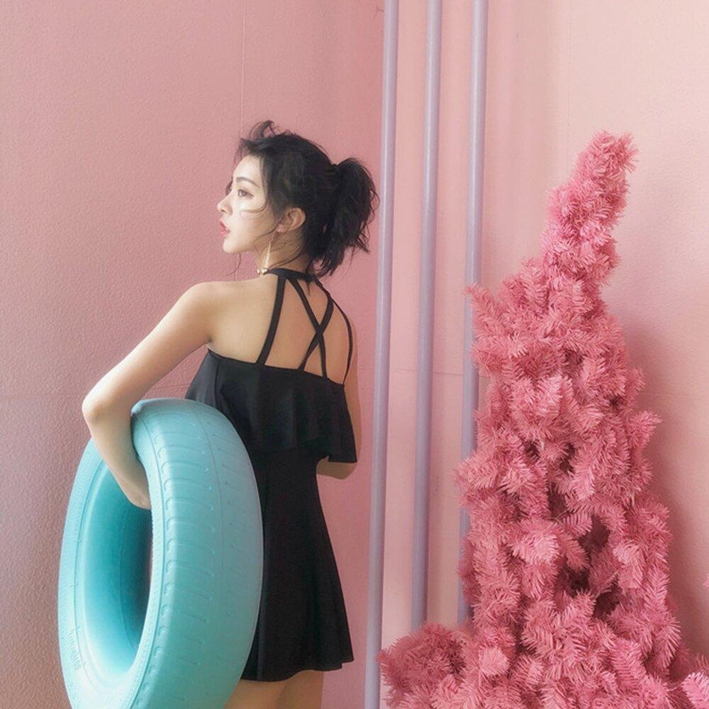 歐范連體裙式泳衣女 如廁款保守平角遮肚顯瘦小胸聚攏溫泉游泳衣 免運