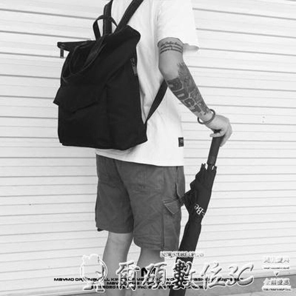 尼龍包原創設計極簡潮流純色防水尼龍多功能手提包百搭學院風雙肩背包男 清涼一夏特價