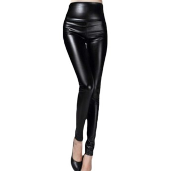 maweisong Womens Warm Casual High Rise Faux Leather Tights Leggings Pants Black S