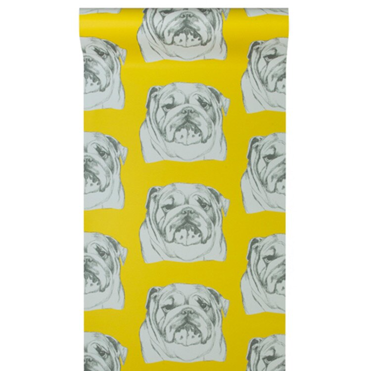 狗紋圖案壁紙 The Graduate Collection / Bulldog Wallpaper Mustard 壁紙 (訂貨單位52cm10m/卷)