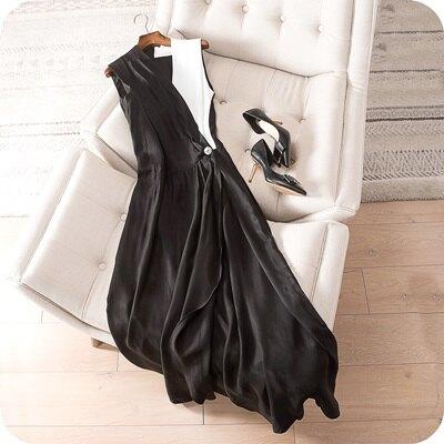 ☆連身裙無袖連衣裙-優雅氣質撞色V領女上衣2色73sz10【獨家進口】【米蘭精品】