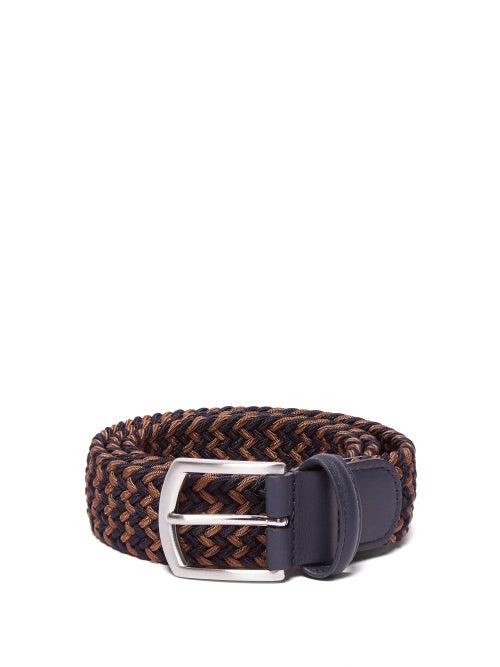 Anderson's - Woven Elasticated Belt - Mens - Navy/dk Olive
