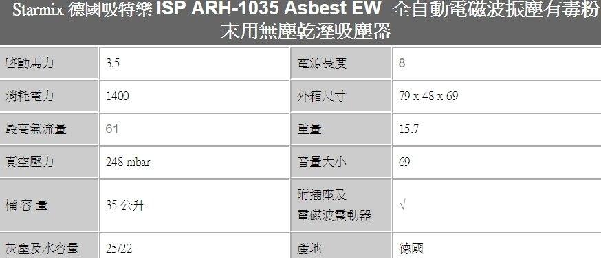*****東洋數位家電*****Starmix ISP ARH-1035ASBEST 吸特樂 工業吸塵器 有毒粉末用無塵乾濕吸塵器