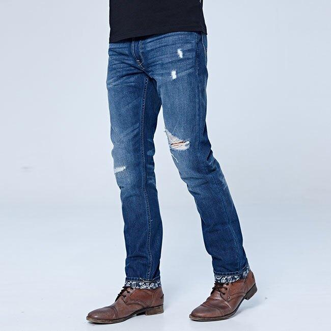 【領券滿1,200再折120】Lee 726 中腰舒適小直筒牛仔褲 101+ 男款 中藍