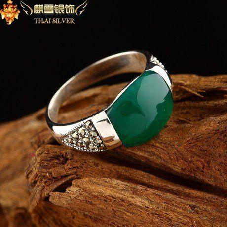手工母親節銀飾品泰銀戒指綠瑪瑙複古食指女指環