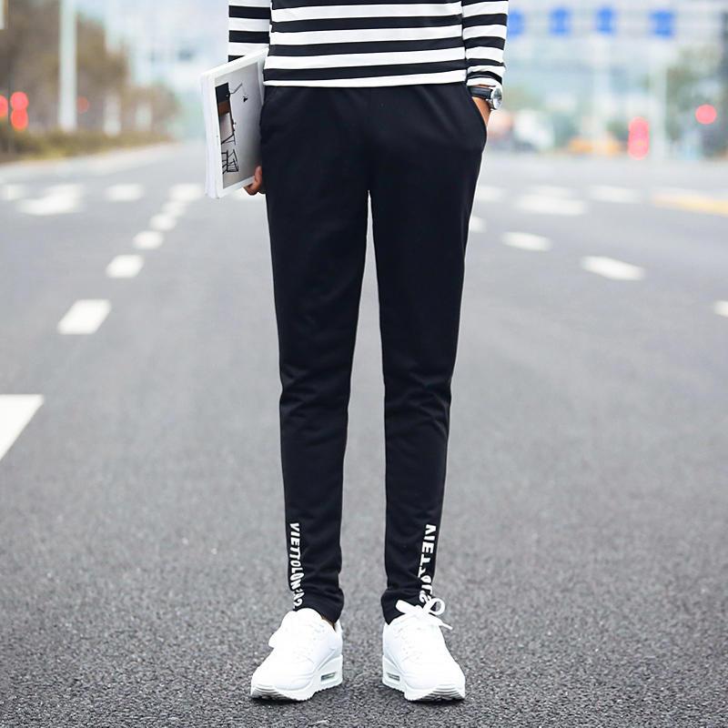 九分褲男小腳褲哈倫褲休閑褲潮男裝9分運動褲薄款黑色男褲子1入