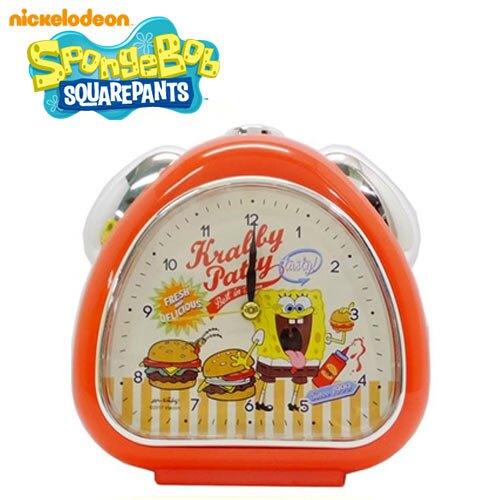 紅色款【日本正版】海綿寶寶 鬧鐘 造型鐘 指針時鐘 夜燈設計 SpongeBob - 061501