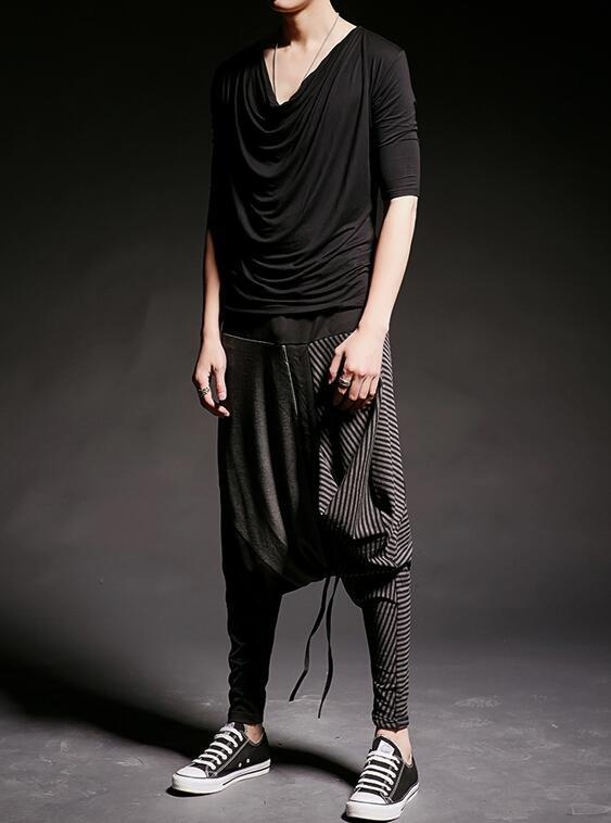 FINDSENSE 韓國潮流 個性 拼接 條紋 街頭潮男 夜店 DJ 發型師 必備 哈倫褲 蝙蝠褲
