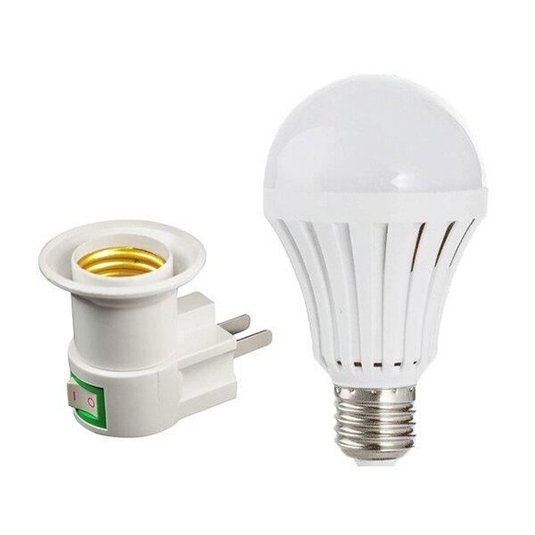 現貨 7W觸控式應急LED省電燈泡+帶開關E27充電燈座套組 觸控式燈泡 緊急照明 露營【刀鋒】