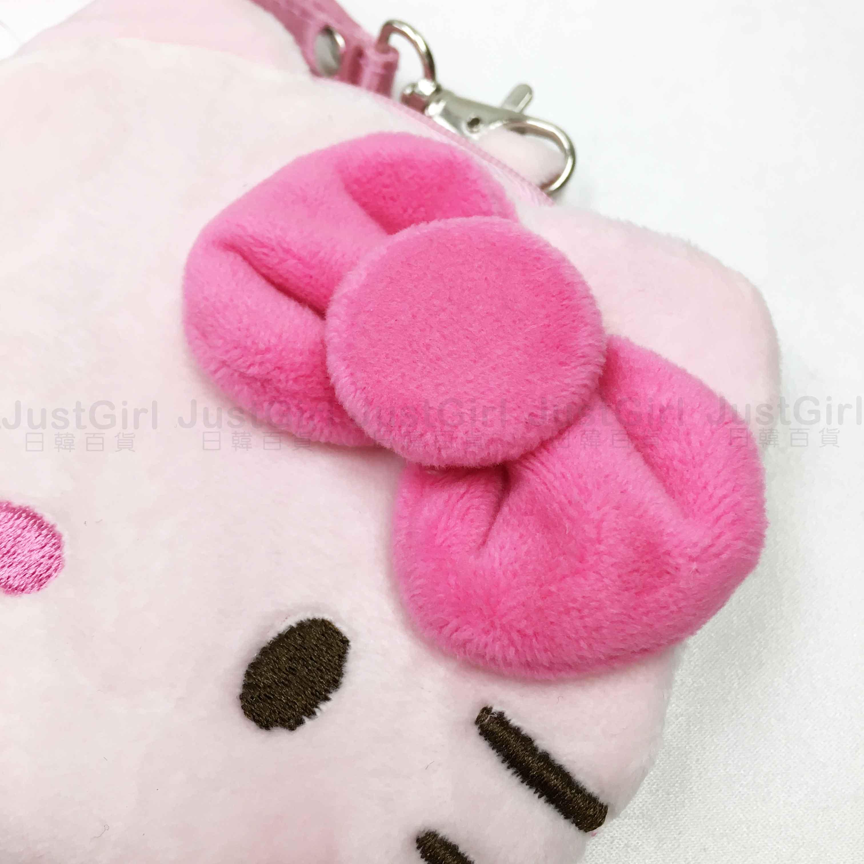 零錢包 三麗鷗 Hello Kitty 絨毛 大頭 造型 刺繡 掛繩 粉 小物 收納包 正版授權