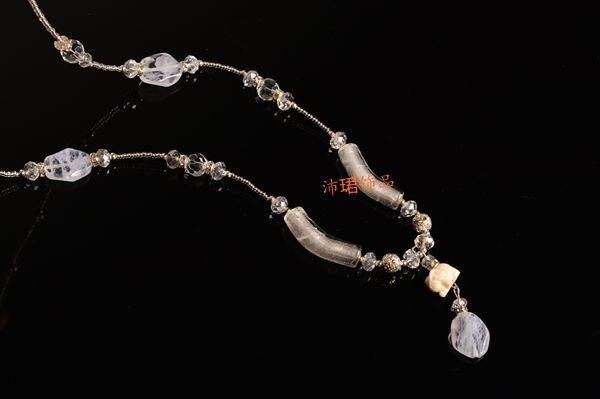 飾品新款純白水晶琉璃手工毛衣鏈
