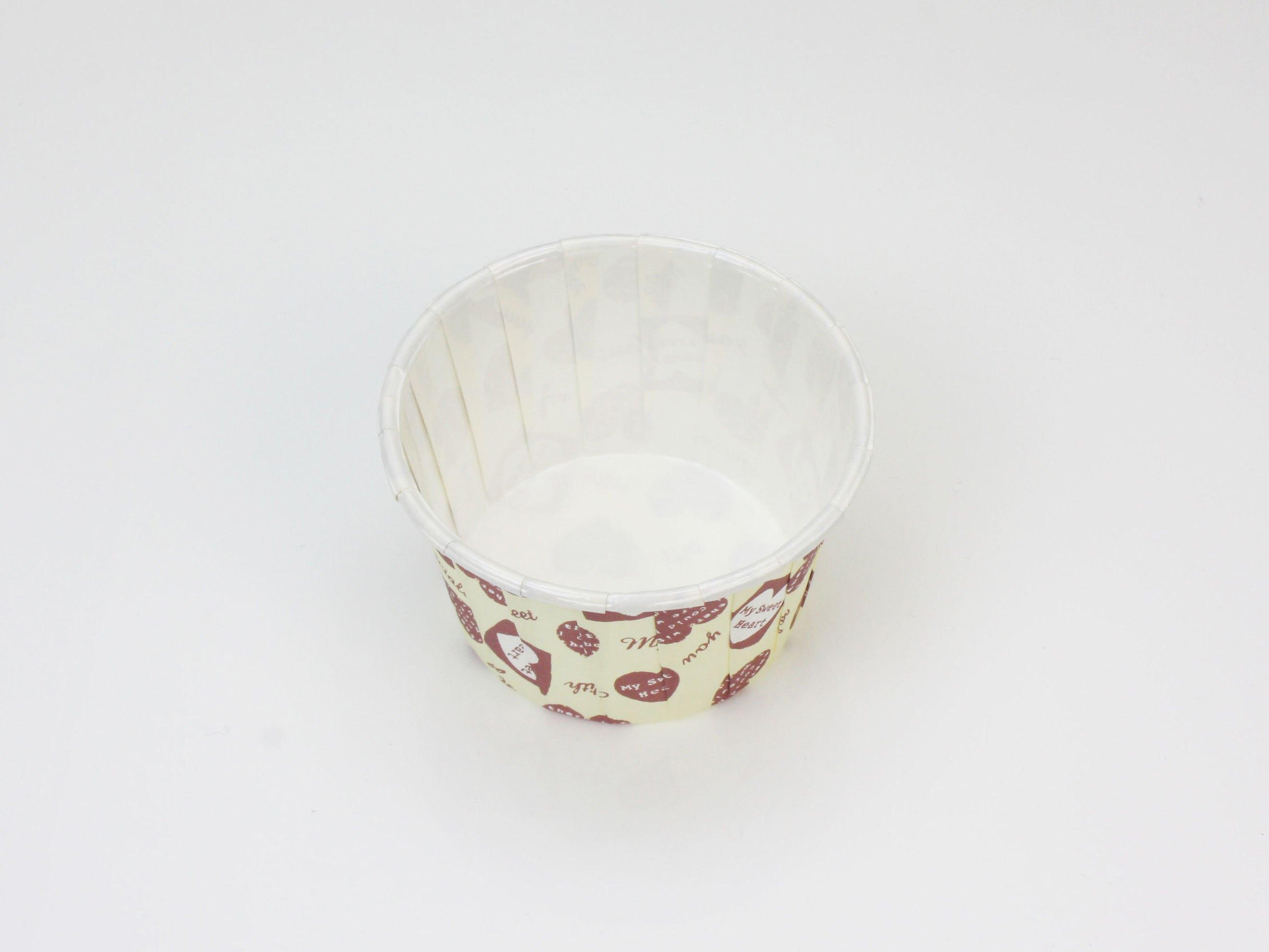 【PET4435】瑪芬杯、杯子蛋糕、捲口杯(米底愛心)(100個/包)
