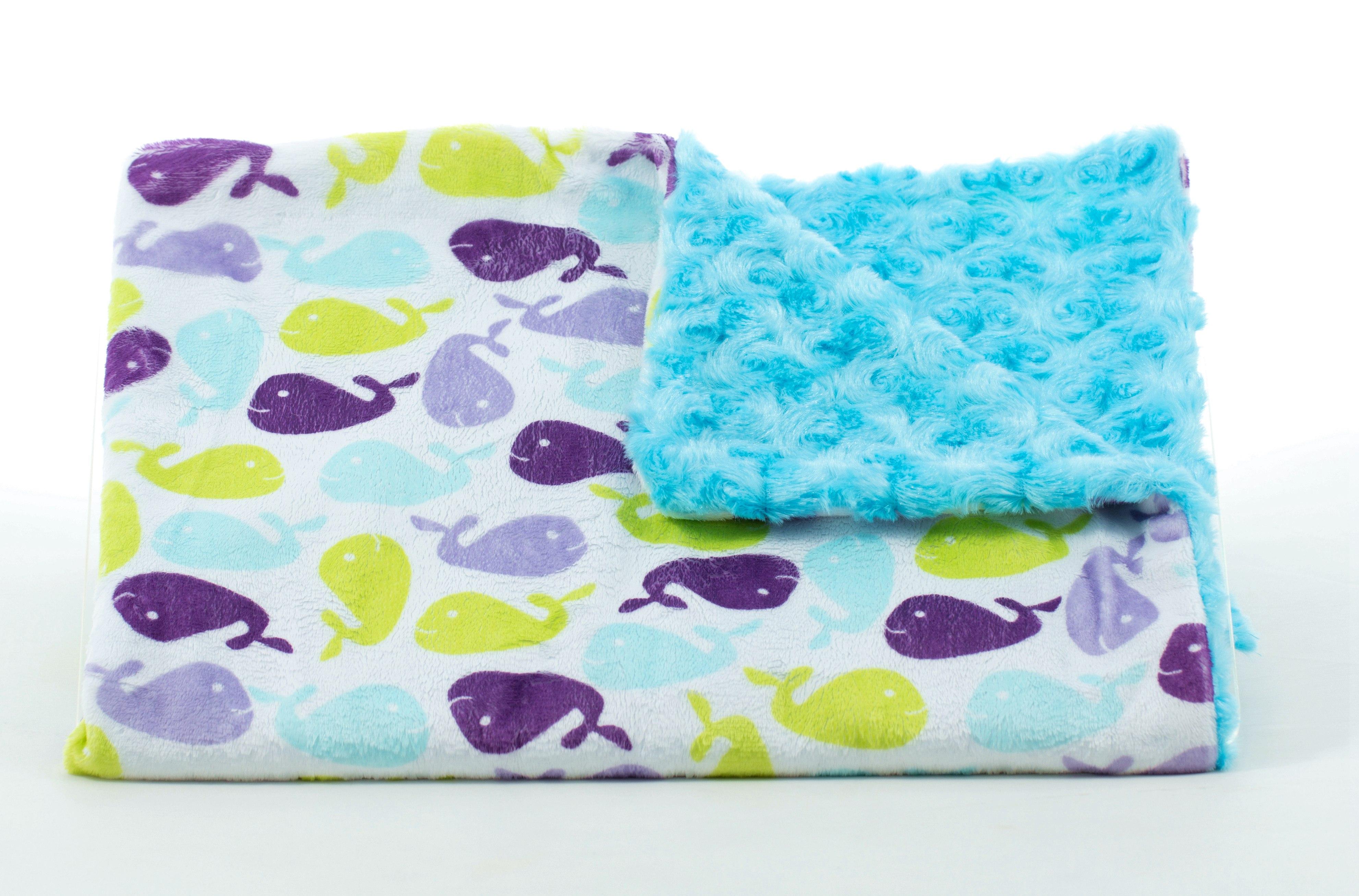 ★啦啦看世界★ 美國製 Tourance 朵蕾花苞毯 / 小鯨魚水藍花苞 彌月禮 出生禮 月子 手工毯 寶寶毯 嬰兒毯 滿月 柯以柔 美國毯
