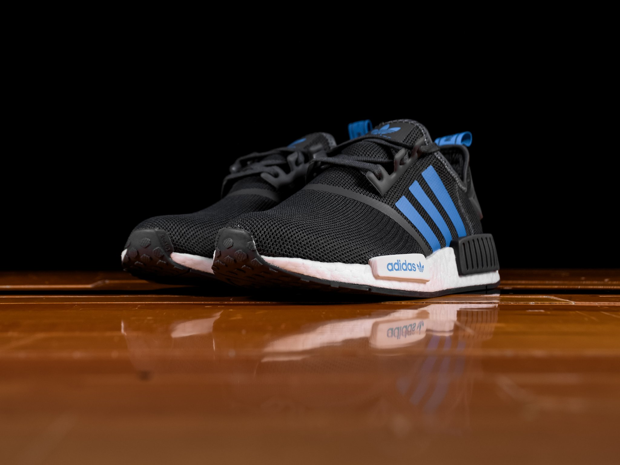 KUMO SHOES-Adidas NMD R1 Boost 深灰藍 網布 編織 黑藍 慢跑鞋 女鞋 D96688