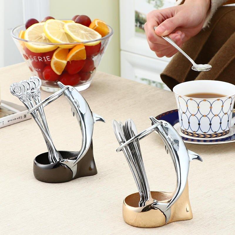 家用不銹鋼水果叉套裝 時尚可愛二齒水果簽 咖啡勺子套裝天鵝座1入