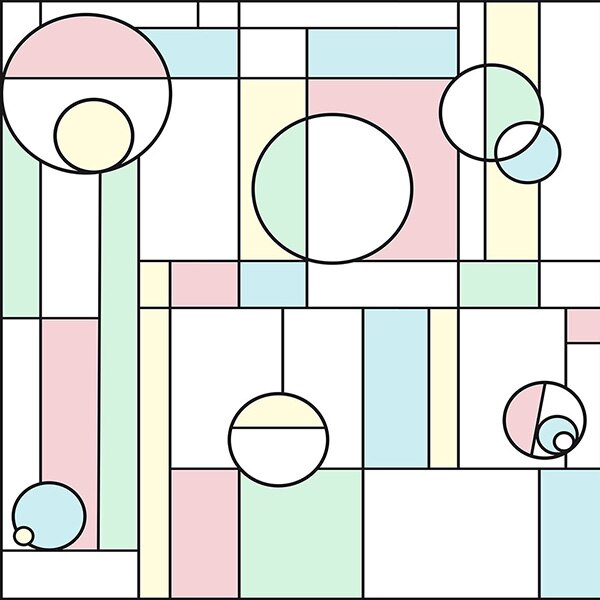法國牆紙 彩色 粉色 幾何風壁畫, 壁板 neoDKO / Pastel Tag 3329a(訂貨單位 250cm250cm1套5張壁版)