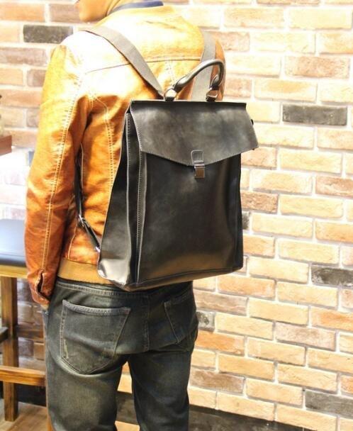 FINDSENSE Z1 韓國 時尚 潮 男 皮質 複古 學院風 休閒 電腦包 旅行包 學生包 書包 後背包 雙肩包
