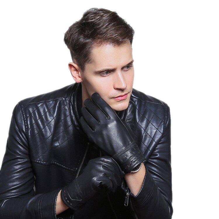 真皮手套羊皮手套-手腕穿線防滑黑色男手套73wf9【獨家進口】【米蘭精品】