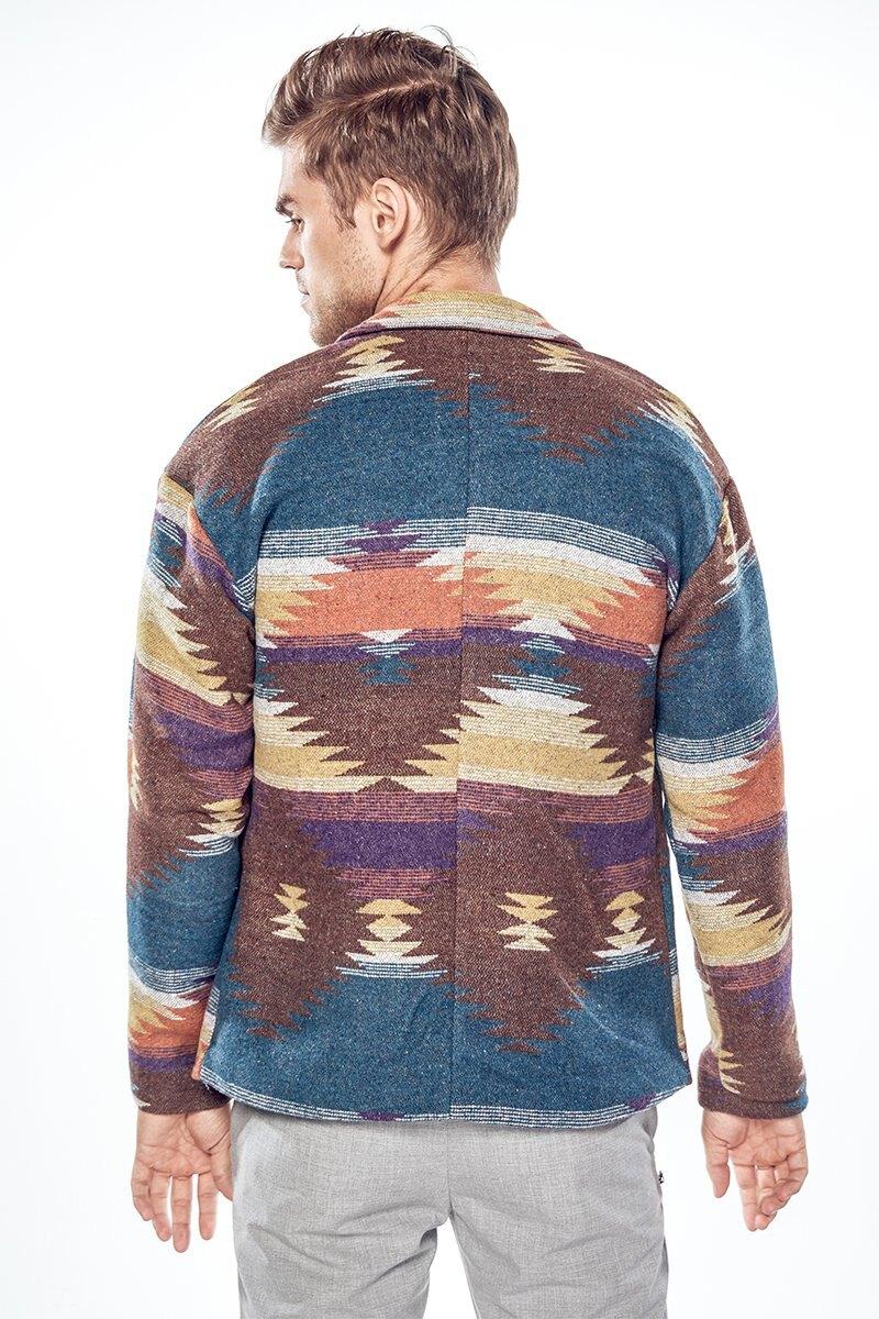 FINDSENSE Z1 韓國 時尚 潮 男 翻領 寬鬆 迷彩 格子 毛呢 大衣 休閒款西裝外套