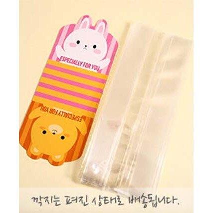 【嚴選SHOP】48入小熊兔子雙面 平口袋+紙墊 磨砂食品袋 包裝袋 點心袋 禮品袋 塑料袋 餅乾袋 糖果袋【D003】