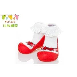 韓國【Attipas】快樂腳襪型學步鞋-芭蕾紅 L【紫貝殼】