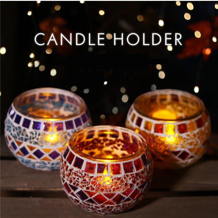 【土耳其馬賽克風格】拼接浪漫燭臺 擺飾裝飾蠟燭  燭台-紫/藍/黃【AAA6074】