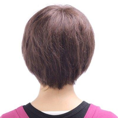 假髮整頂真髮絲短假髮-時尚中老年蓬鬆自然女配件色73ek51【獨家進口】【米蘭精品】