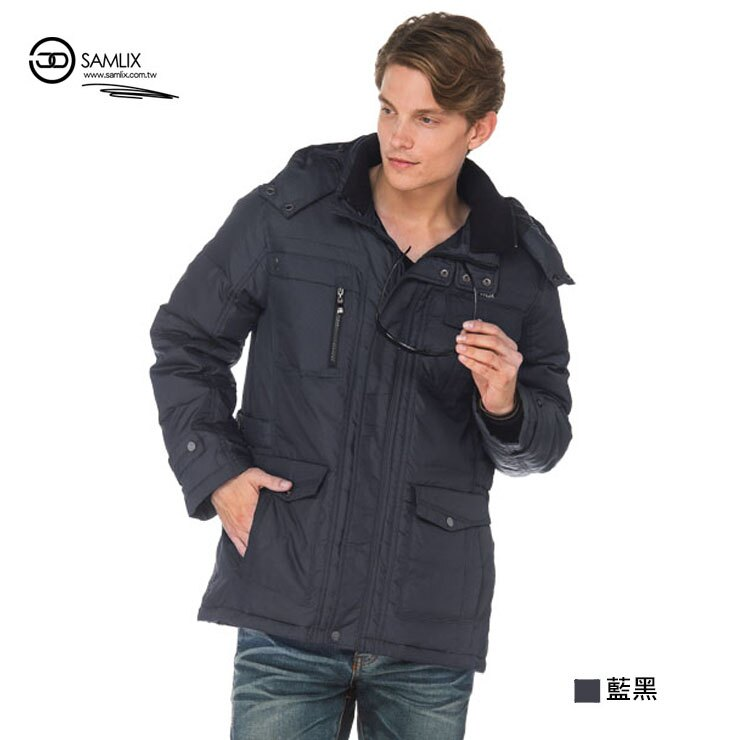 【SAMLIX山力士】JIS90%羽絨防潑水保暖外套#67312(藍黑.咖啡)