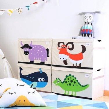 卡通玩具收納箱特大號收納盒布藝儲物箱有蓋整理箱   HM 【歡慶新年】