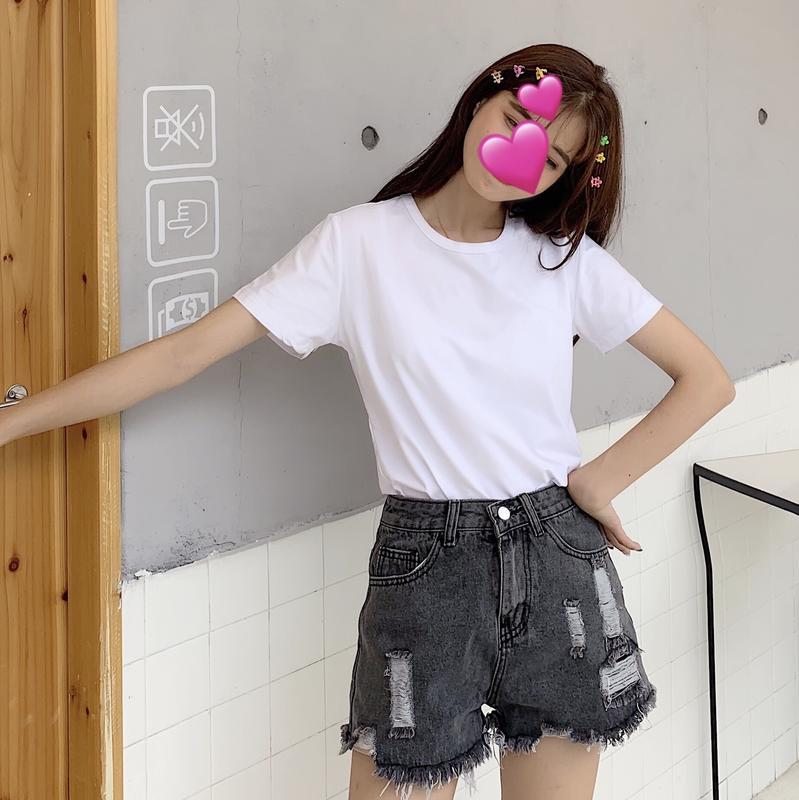 夏季女裝2019新款韓版復古小眾圓領純白色短袖t恤女寬松上衣ins潮1入