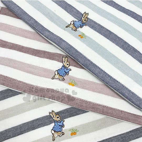 小禮堂 彼得兔 棉質長毛巾《3款隨機.橫條紋.藕粉/藍/灰綠》34x73cm