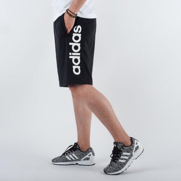 KUMO SHOES-現貨 ADIDAS ESSENTIAL LIN SHORT SJ 黑色 字母LOGO 短棉褲 男款 BS5026