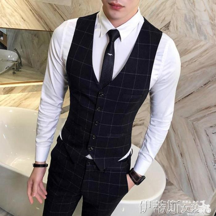 西裝馬甲男士薄款西裝馬甲套裝韓版修身英倫風格子休閒結婚禮服