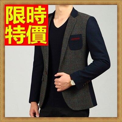 ☆毛呢外套 男西服-羊毛格紋拼色修身男西裝外套63af50【韓國進口】【米蘭精品】