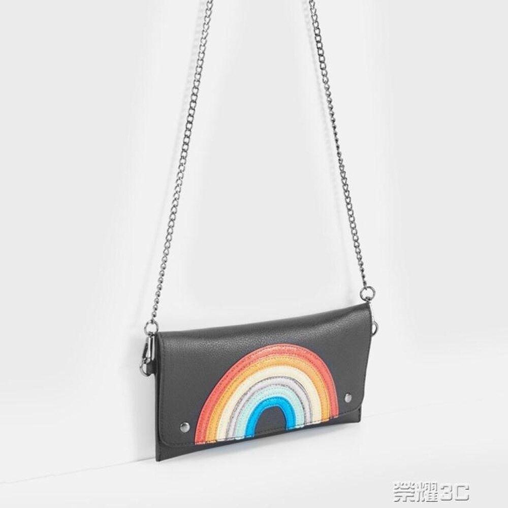 單肩包 C&A女式彩虹條PU子母袋手拿包新款斜跨單肩包CA200210751 年貨節預購