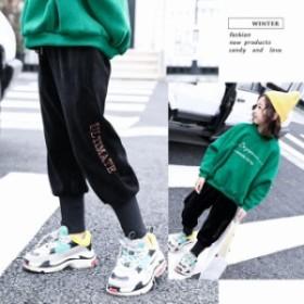 韓国子ども服 カジュアルパンツ シルクパンツ キッズ女の子 シンプル ゆったり 裏起毛 防寒 遠足 110-160cm