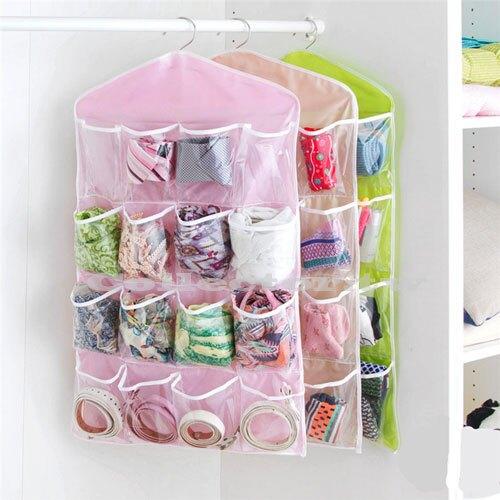 【超取399免運】達人收納-透明16格收納袋 衣櫃收納掛袋 多層牆衣櫥門後懸掛式儲物袋