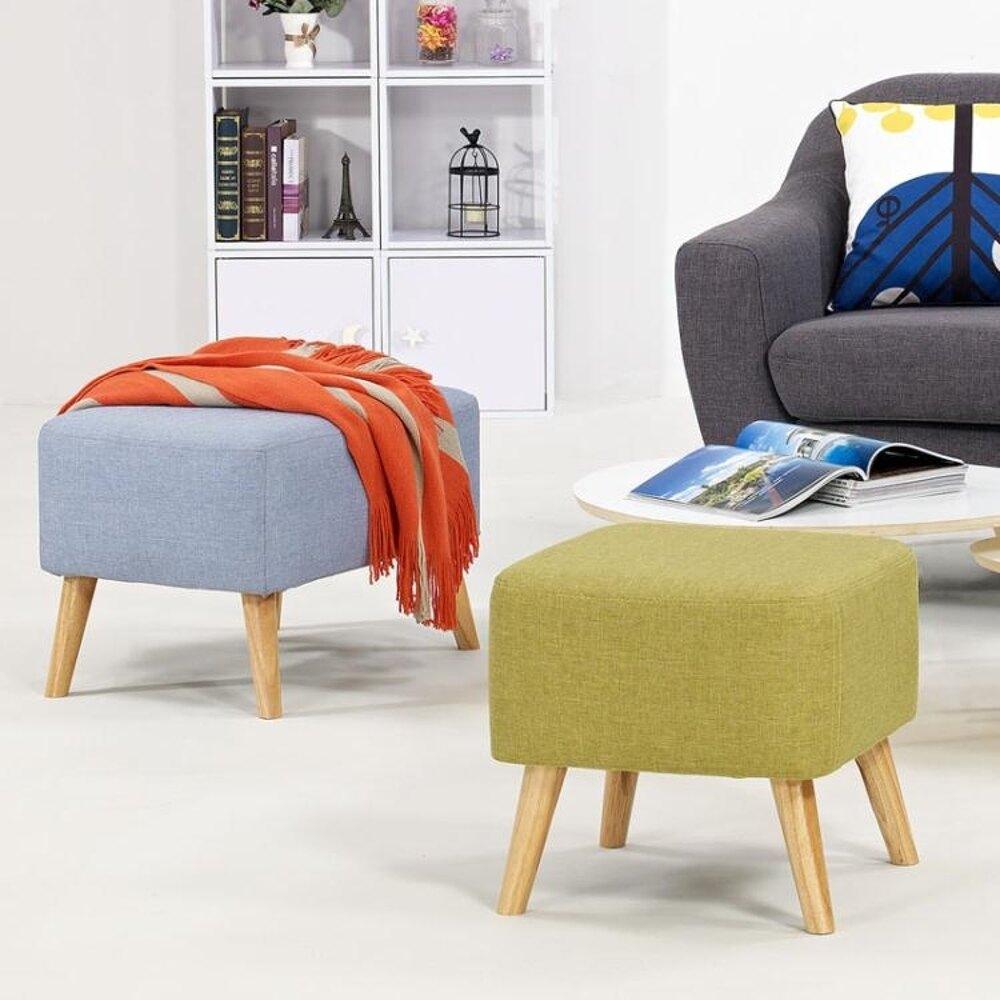 換鞋凳沙髮凳實木歐式布藝家具凳子腳踏現代可拆洗床尾矮凳     全館八五折
