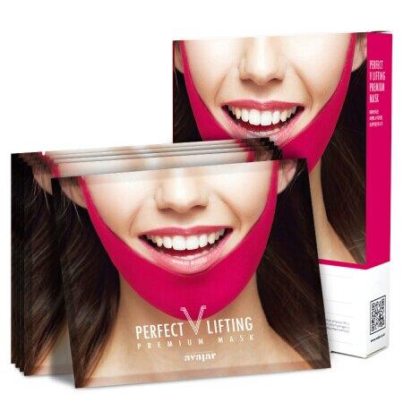 韓國  【AVAJAR】 PERFECT  V LIFTING PREMIUM MASK 完美V面膜 V臉面膜 V臉神器 小臉面膜 (5片入/盒) 嘟可小舖