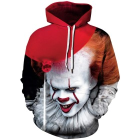 Pandolah メンズ パーカー プルオーバー 3Dプリント ハロウィン Halloween 仮装 お化け スウェット 長袖 (L、風船ピエロ)