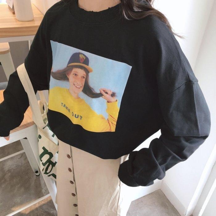 FINDSENSE G6 韓國時尚潮流 2019春裝衛衣新款春季寬鬆印花外套女慵懶風BF女裝上衣長袖T恤