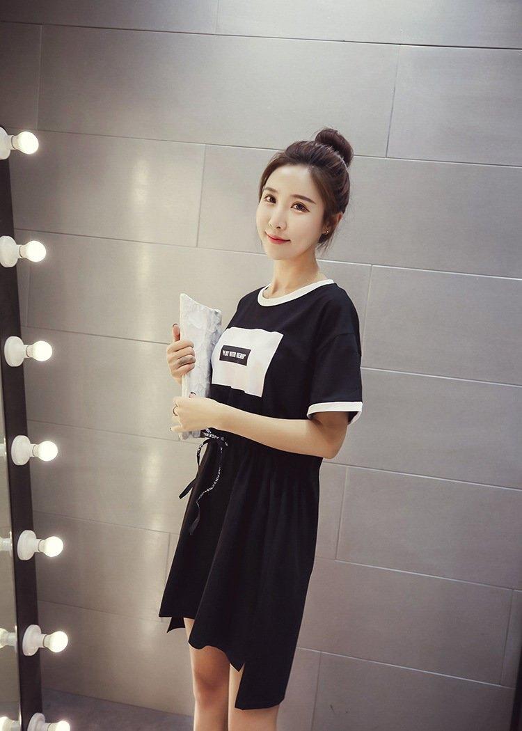 FINDSENSE G5 韓國時尚 夏季 抽繩 收腰 寬鬆 中長款 短袖 T恤 連身裙