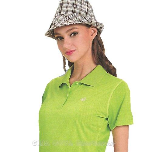 【義大利 SINA COVA】女版運動休閒吸濕排汗短POLO衫-螢綠條紋#SW8101A1