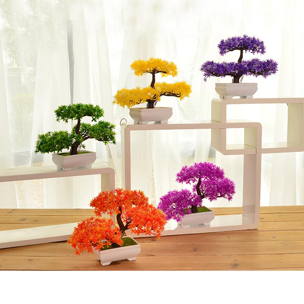 家居創意仿真迎客鬆植物盆景假花盆栽裝飾品擺設茶幾桌面擺件    全館八五折
