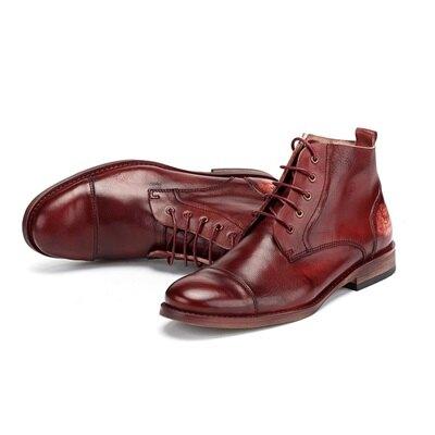 中筒靴真皮綁帶靴子-擦色做舊隨興復古男靴73kk9【獨家進口】【米蘭精品】