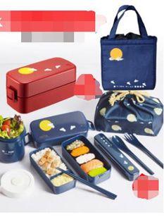 日本ASVEL雙層飯盒便當盒日式餐盒可微波爐加熱塑料分隔餐盒男女