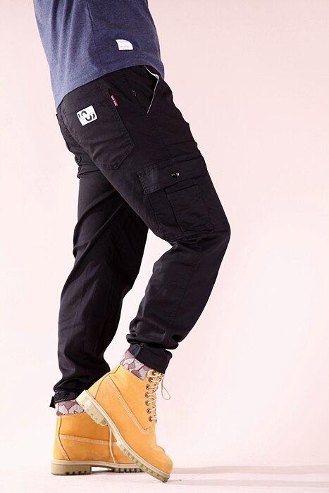 【高機能.型男工作褲/縮口褲】24-40腰 彈力 素面 鬆緊帶褲頭 多袋 工作褲 JOGGER縮口褲 三色 7347