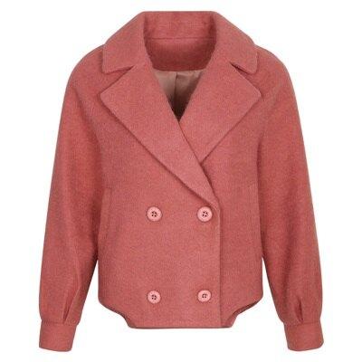 ★毛呢外套短版大衣-純色雙排扣氣質保暖女外套2色73ui10【獨家進口】【米蘭精品】