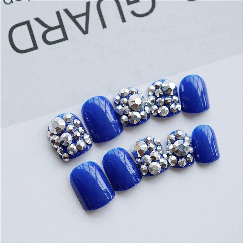 【現貨】NL278 礦銀藍滿鑽穿戴美甲成品新娘款甲片假指甲貼片美甲